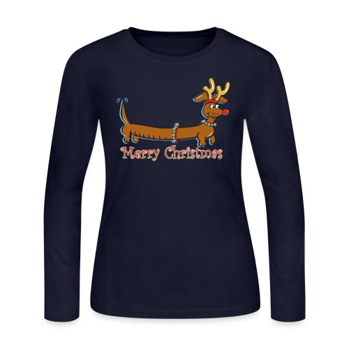 A Cute Cartoon Dachshund with Reindeer Antlers - Women's Long Sleeve Jersey T-Shirt