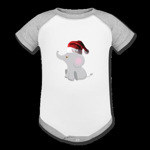 Christmas Elephant - Baby Contrast One Piece