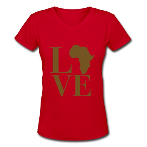 Love Africa short sleeved women's v-neck t-shirt - Women's V-Neck T-Shirt