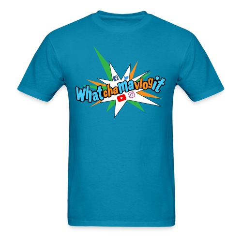 Whatchamavlogit Candy Mens Shirt Blue Logo - Men's T-Shirt