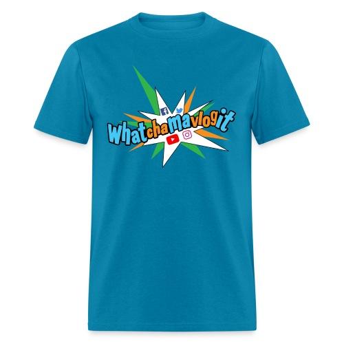 Whatchamavlogit Candy Mens Shirt Blue Logo - Men's T-Shirt