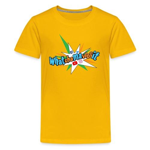 Whatchamavlogit Candy Kids Shirt Blue Logo - Kids' Premium T-Shirt