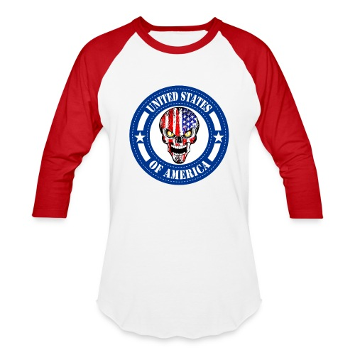 USA skull - Baseball T-Shirt