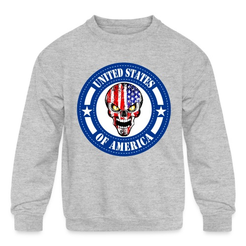 USA skull - Kids' Crewneck Sweatshirt