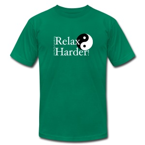 Relax Harder! T-Shirt - White Lettering on Dark - Men's T-Shirt by American Apparel