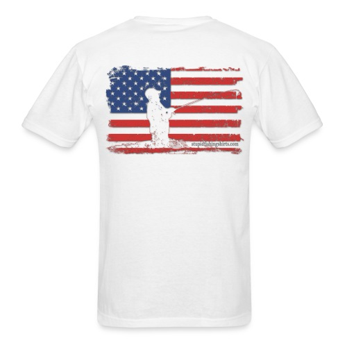 American Flag catch on Back - Men's T-Shirt