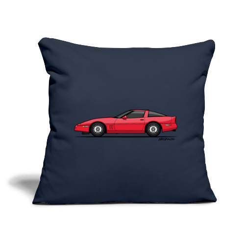 "Red American C4 Coupe 1984 - Throw Pillow Cover 18"" x 18"""