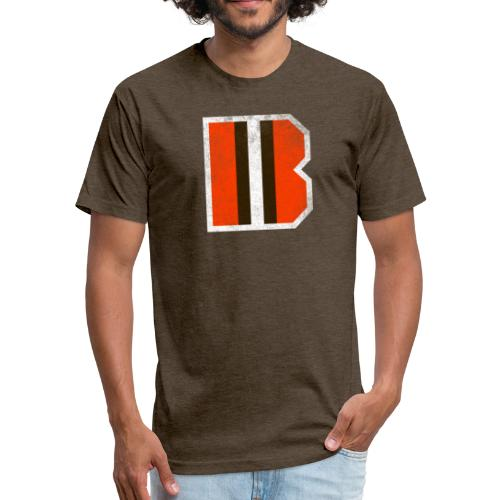 B-stripe Browns T-Shirt  - Fitted Cotton/Poly T-Shirt by Next Level