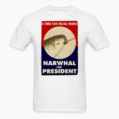 Narwhal for President Facial Horns Poster T-Shirts
