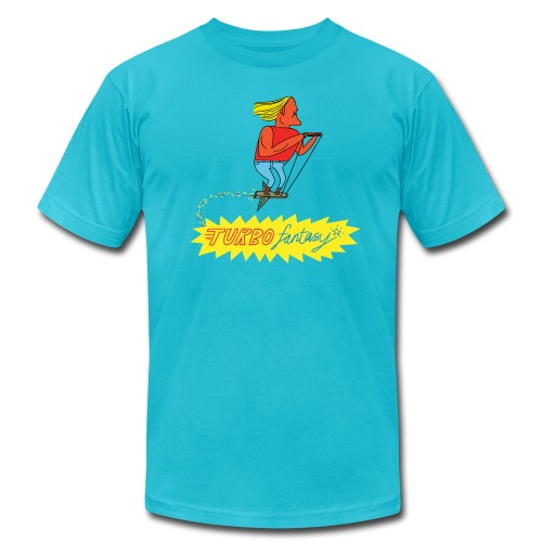 Turbo Fantasy - Turbo flying above logo - Men's T-Shirt by American Apparel