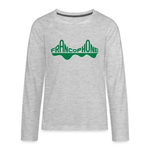 Kid's longsleeve tee_heather grey forest green text - Kids' Premium Long Sleeve T-Shirt