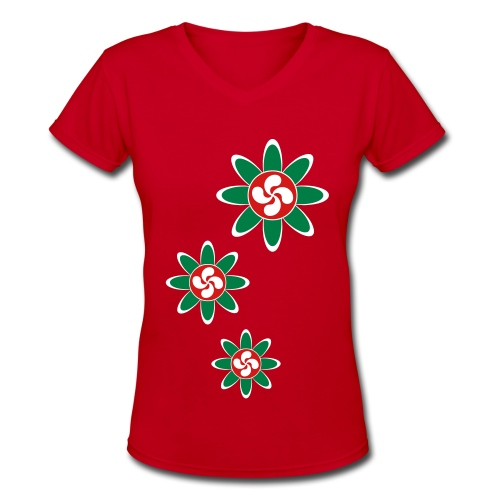 Basque country flower - Women's V-Neck T-Shirt