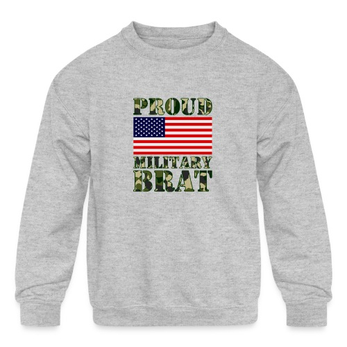 USA FLAG PROUD MILITARY BRAT USATS - Kids' Crewneck Sweatshirt