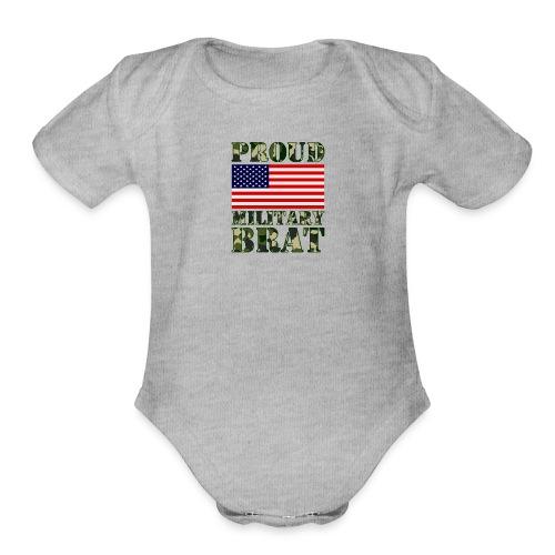 USA FLAG PROUD MILITARY BRAT USATS - Organic Short Sleeve Baby Bodysuit