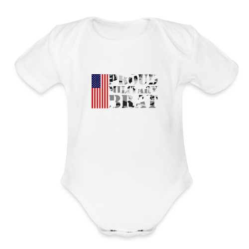 USA FLAG PROUD MILITARY BRAT USATS - Organic Short Sleeve Baby Bodysuit