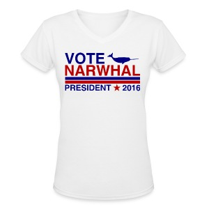 Vote Narwhal 2016 - Women's V-Neck T-Shirt