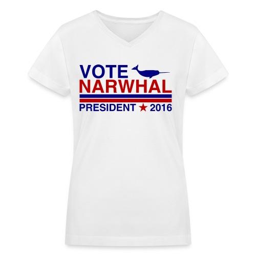 Vote Narwhal 2016 - Women's V-Neck T-Shirt