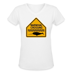 Narwhal Crossing - Women's V-Neck T-Shirt