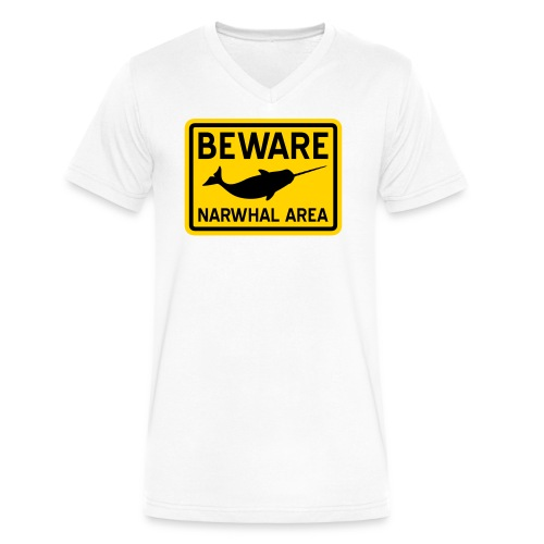 Beware Narwhal - Men's V-Neck T-Shirt by Canvas