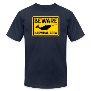 Beware Narwhal - Men's T-Shirt by American Apparel