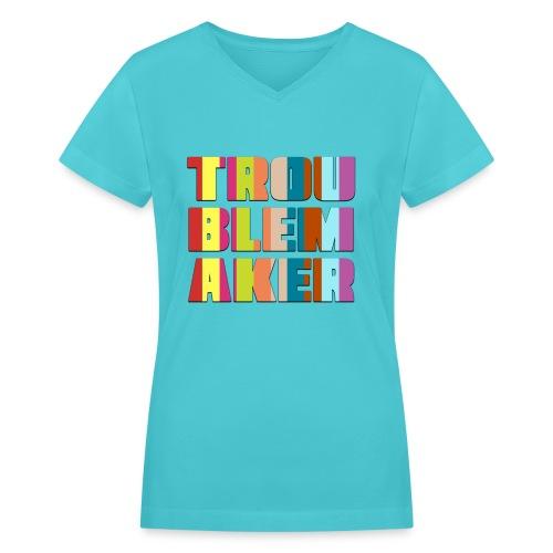 VT_TroublemakerCutout_VneckF - Women's V-Neck T-Shirt