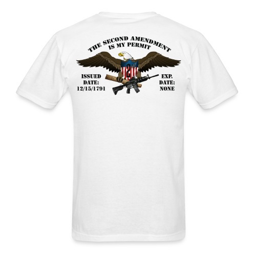 2nd Amendment Permit w/Black lettering  - Men's T-Shirt