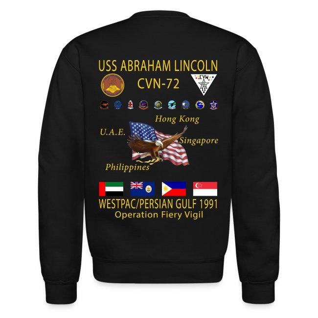 USS ABRAHAM LINCOLN CVN-72 WESTPAC/PERSIAN GULF 1991 CRUISE SWEATSHIRT