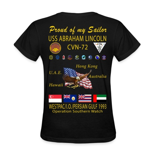USS ABRAHAM LINCOLN (CVN-72) 1993 WESTPAC WOMENS CRUISE SHIRT - FAMILY VERSION - Women's T-Shirt
