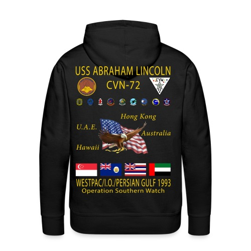 USS ABRAHAM LINCOLN (CVN-72) 1993 WESTPAC CRUISE HOODIE - Men's Premium Hoodie