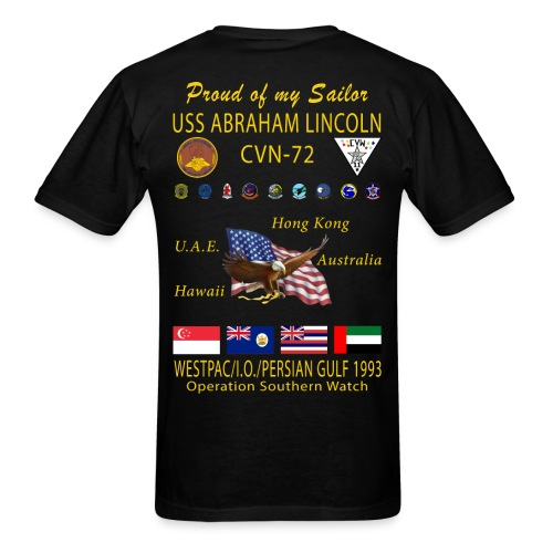 USS ABRAHAM LINCOLN (CVN-72) 1993 WESTPAC CRUISE SHIRT - FAMILY VERSION - Men's T-Shirt