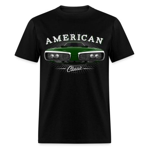 Classic 70 Dodge Coronet Mens T-Shirt | Black Dark Green - Men's T-Shirt
