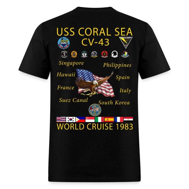 USS CORAL SEA 1983 WORLD CRUISE SHIRT