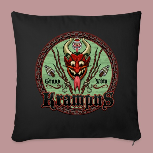 Krampus Greetings Throw Pillow Cover - Throw Pillow Cover