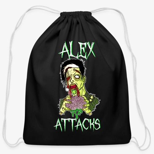 Zombie Eating Brains Cotton Drawstring Bag - Cotton Drawstring Bag