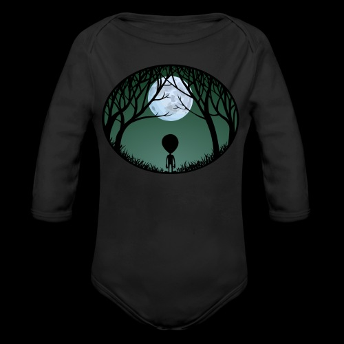 Baby Alien One-Piece Organic Cute Alien Baby Bodysuits - Organic Long Sleeve Baby Bodysuit