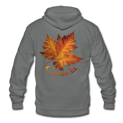 Unisex Fleece Zip Hoodie - Women's Canada Hoodies Canada Maple Leaf Souvenir Women's Hooded Sweatshirts Ladies & Girls Souvenir Canada Shirt Beautiful Autumn Maple Leaf Canada Souvenir Hoodies for Women & Girls Design by Canadian Artist / Designer www.kimhunter.ca