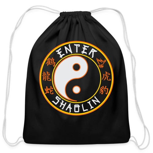Enter Shaolin Logo | Cotton Drawstring Bag | Black - Cotton Drawstring Bag