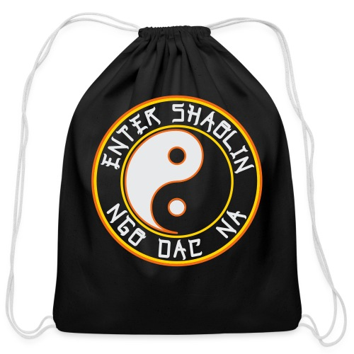 Enter Shaolin + NDN Logo | Cotton Drawstring Bag | Black - Cotton Drawstring Bag