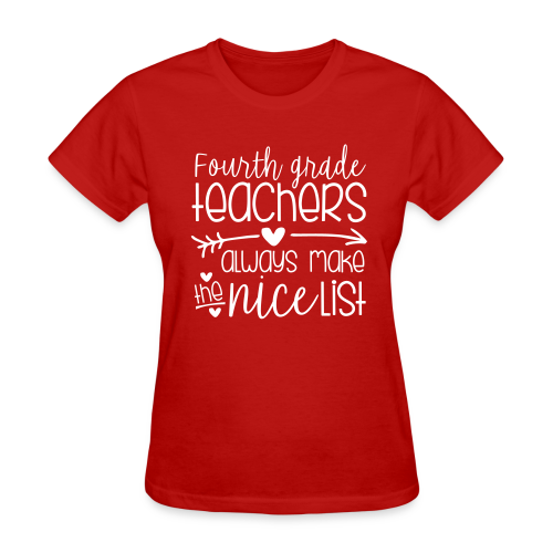 Fourth Grade Teachers Always Make the Nice List - Women's T-Shirt
