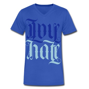Love + hate (blue V) - Men's V-Neck T-Shirt by Canvas