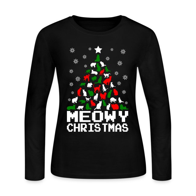 a7899fb51 Meowy Christmas Cat Tree Ugly Sweater Style Womens Long Sleeve T-shirts
