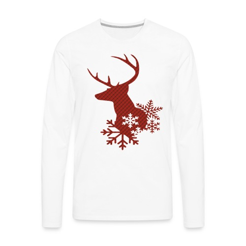 Red Plaid Christmas Deer Snowflakes Long Sleeve Shirt - Men's Premium Long Sleeve T-Shirt
