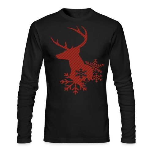 Red Plaid Christmas Deer Snowflakes Long Sleeve Shirt - Men's Long Sleeve T-Shirt by Next Level