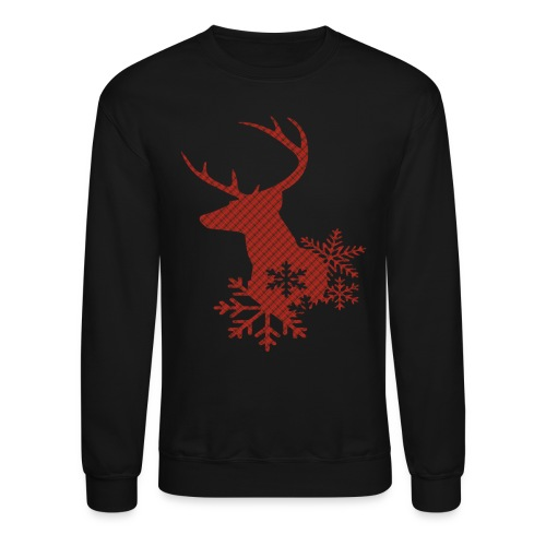 Red Plaid Christmas Deer Snowflakes Long Sleeve Shirt - Crewneck Sweatshirt