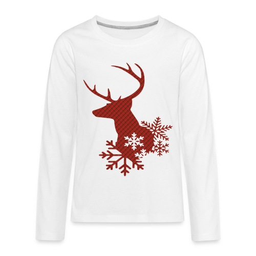 Red Plaid Christmas Deer Snowflakes Long Sleeve Shirt - Kids' Premium Long Sleeve T-Shirt