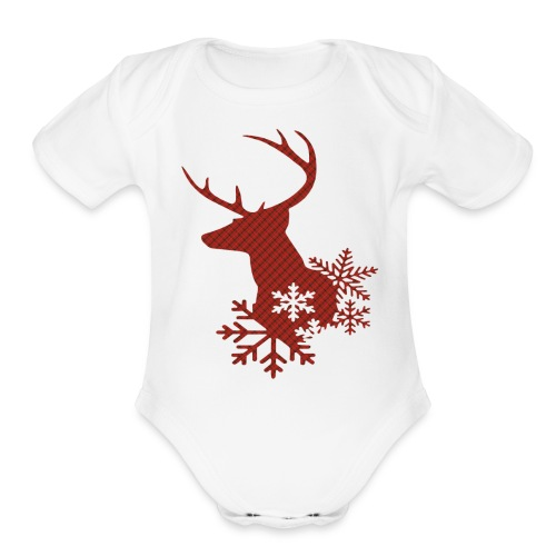 Red Plaid Christmas Deer Snowflakes Baby Body Suit - Organic Short Sleeve Baby Bodysuit