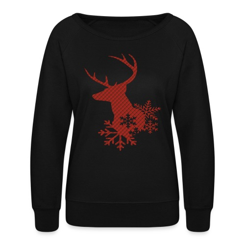 Red Plaid Christmas Deer Snowflakes Long Sleeve Shirt - Women's Crewneck Sweatshirt
