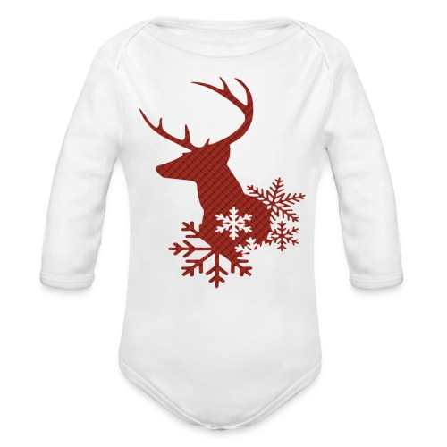 Red Plaid Christmas Deer Snowflakes Baby Body Suit - Organic Long Sleeve Baby Bodysuit