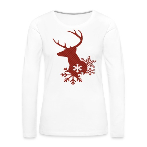 Red Plaid Christmas Deer Snowflakes Long Sleeve Shirt - Women's Premium Long Sleeve T-Shirt