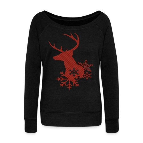Red Plaid Christmas Deer Snowflakes Long Sleeve Shirt - Women's Wideneck Sweatshirt